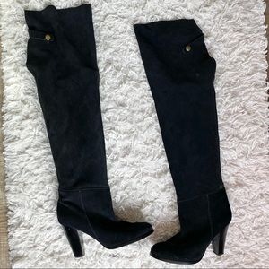Colin stuart Black suede over the knee boots